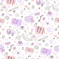 Accessories. Hand drawn seamless pattern.