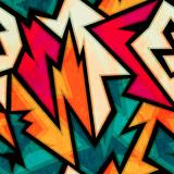 Fototapety urban bright geometric seamless pattern with grunge effect