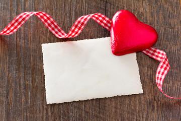 hearts card ribbon dark wood