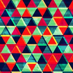 retro triangle mosaic seamless pattern with grunge effect