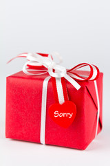red present heart text sorry