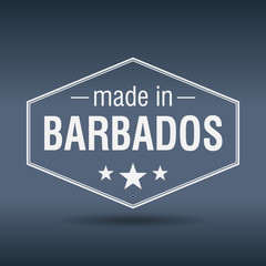 made in Barbados hexagonal white vintage label