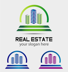 Abstract 3d building vector logo design template