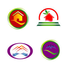 Set of house icons, symbols and logos