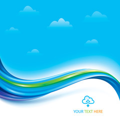 Technology connection of cloud computing concept background.