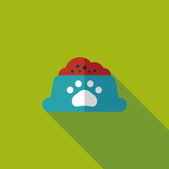 Pet dog food flat icon with long shadow,eps10