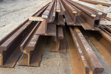 Heap of steel rusty tram rails