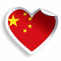 Heart sticker with flag of China isolated on white