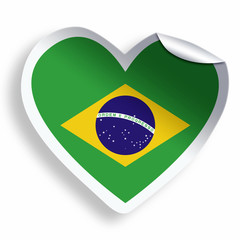 Heart sticker with flag of Brazil isolated on white