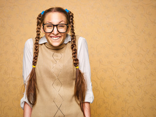 Portrait of young female nerd