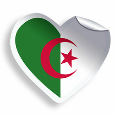 Heart sticker with flag of Algeria isolated on white