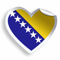 Heart sticker with flag of Bosnia and Herzegovina isolated