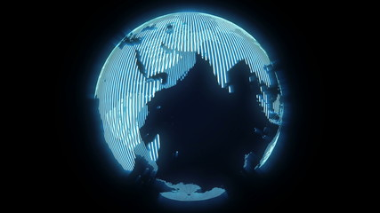 3d hologram spinning earth
