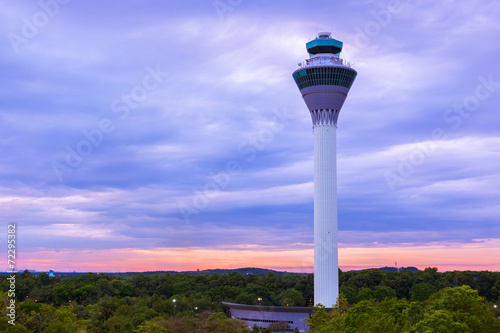 Plexiglas Luchthaven Flight control tower in Airport at Kuala Lumpur (Malaysia)