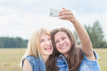 Friends enjoy of taking funny picture