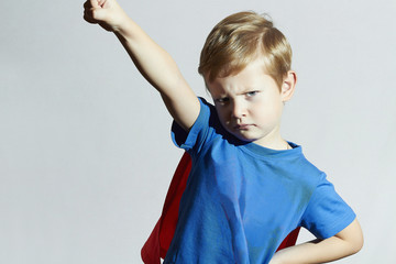 Child like a superhero.superman.little boy.Halloween.Carnival