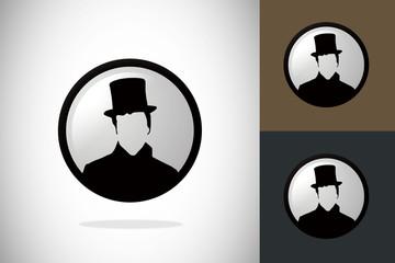 man hat victorian avatar logo vector