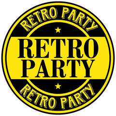 retro party label