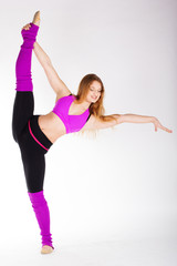 Dancer gymnastic girl with good stretching