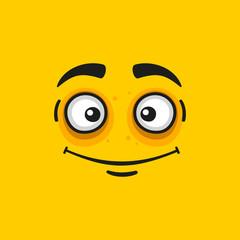 Cartoon Smile Face on Orange Background.