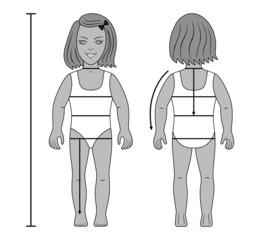 Standing girl preschooler tailor measurements vector