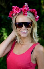Lovely Young Blonde Lady with Garland of Flowers