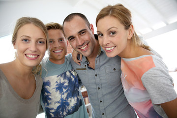 Portrait of cheerful group of friends