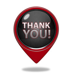Thank you pointer icon on white background