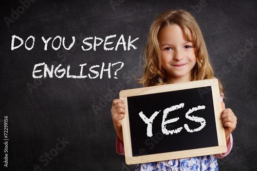 Leinwanddruck Bild Do you speak English? - Yes