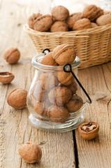 Walnuts in a jug