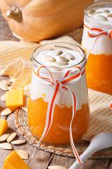 Delicious pumpkin with yogurt close up vertical
