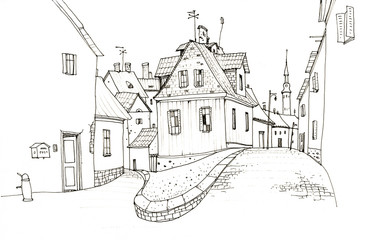 Pencil drawing of the old streets