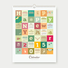 Calendar Happy new year text and colorful square