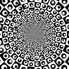 Vector zoom black and white optical circle background 3