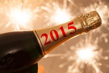 2015 auf champagner flasche zu silvester