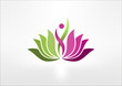 logo lotus, Abstract Woman sign symbol