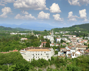 View of Castle Montecuccoli and panorama of old Pazin, Istria