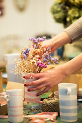 Flowers in pottery shop