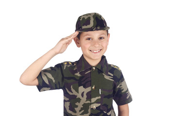 Young soldier isolated on white background