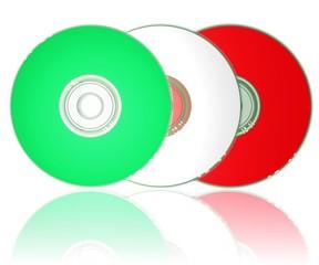 drei CD's in den Farben der italienischen Flagge