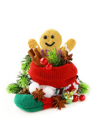 gingerbread man and Christmas spices in knitting socks
