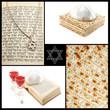 Collage of jewish religious holiday attributes,Torah,Magen David