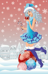 Santa girl in winter city, vector illustration