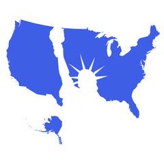 USA map e statua della libertà