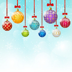 Color Christmas balls on sky background