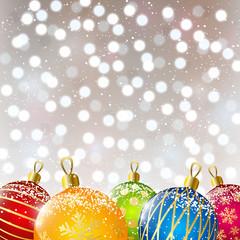Color Christmas balls on shiny background