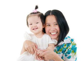 cheerful asian mother and baby girl