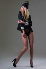Fashion girl model in the studio