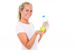 canvas print picture - frau mit wasserflasche und apfel