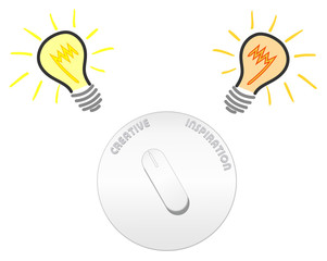 Vector creativity and inspiration switch with light bulbs